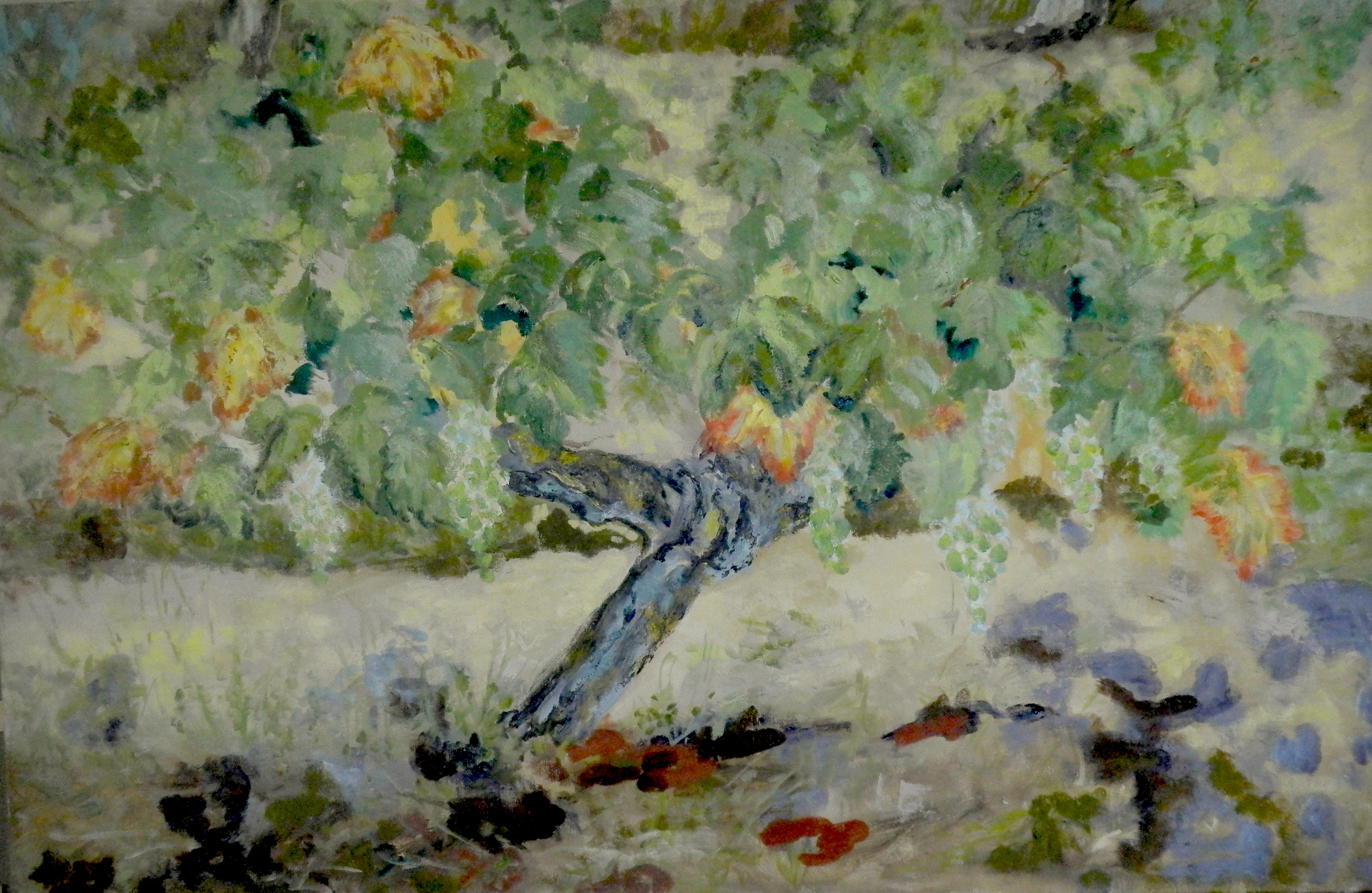 Image of - Fin d'Eté Raisins et Feuilles dorés (End of Summer Grapes and Golden Leaves)