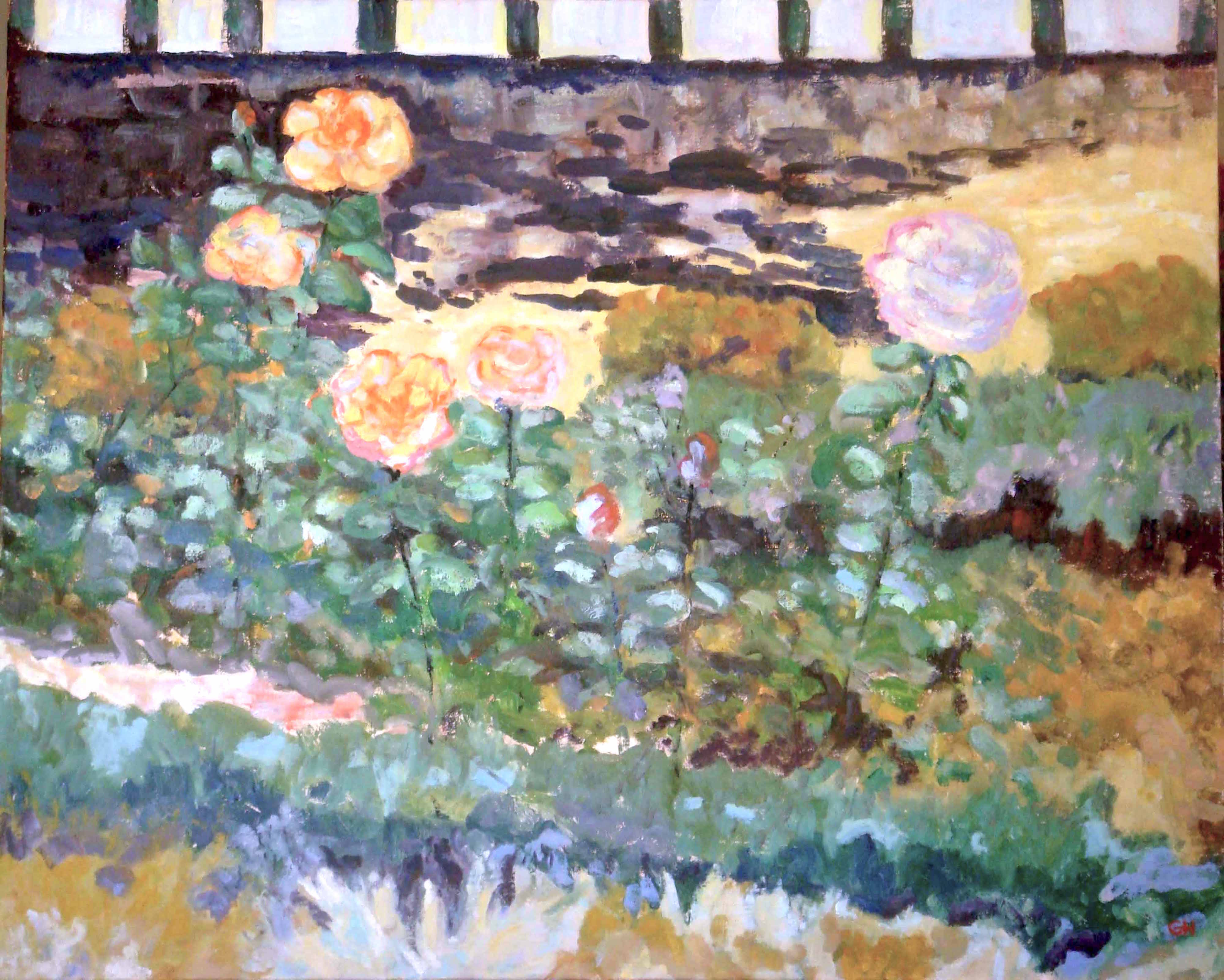 Image of - Late Afternoon Orange Roses with Gate