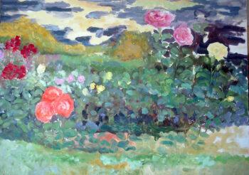 Image of - Orange Roses and Geraniums