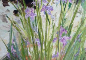 Image of - Blue Iris & Fountain