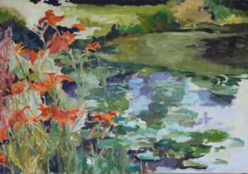 Image of - Daylilies and Pond at Bagatelle