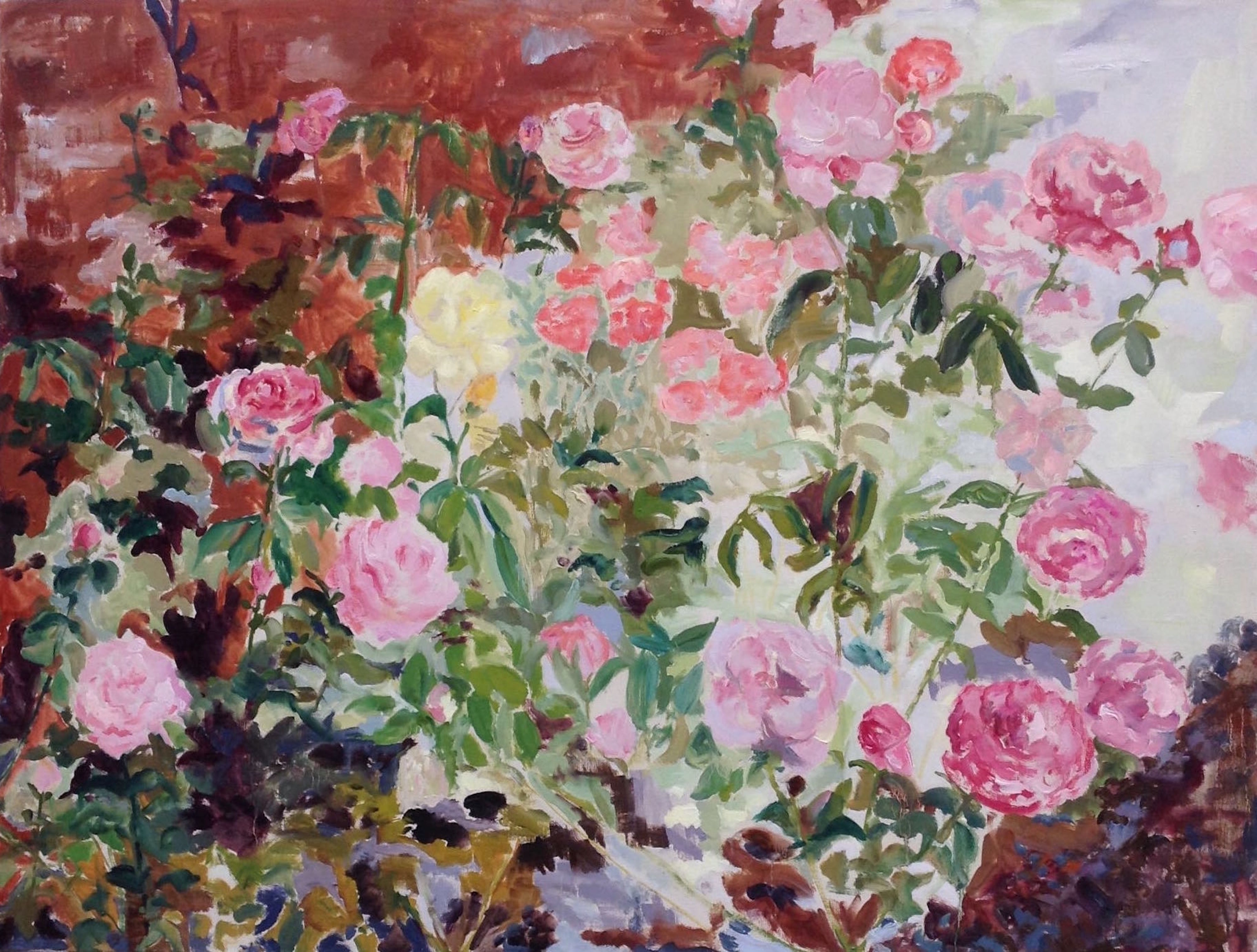 Image of - Pink Roses Against Red Hothouse